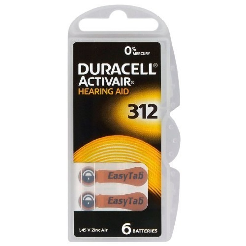 Duracell ActivAir elementai klausos aparatams PR41 312, 6 vnt.