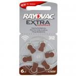 Rayovac Extra elementai klausos aparatams PR41 312, 6 vnt.