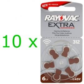 Rayovac Extra elementai klausos aparatams PR41 312, 60 vnt.