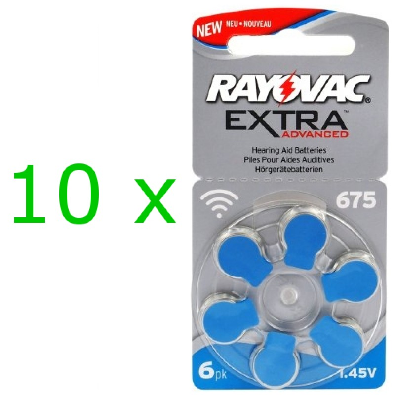 Rayovac Extra elementai klausos aparatams PR44 675, 60 vnt.