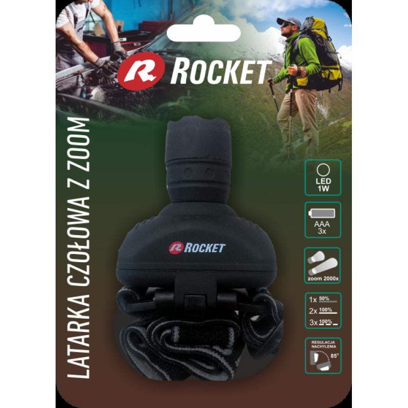 Rocket 1W prožektorius ant galvos su fokusavimo funkcija