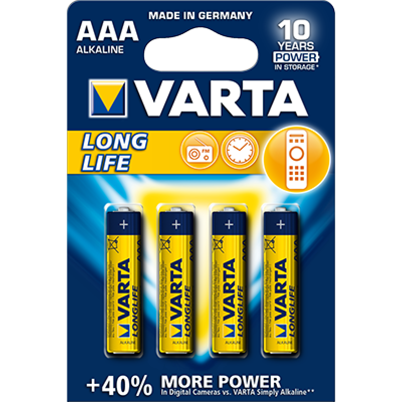 Varta Longlife AAA elementas, 4 vnt.