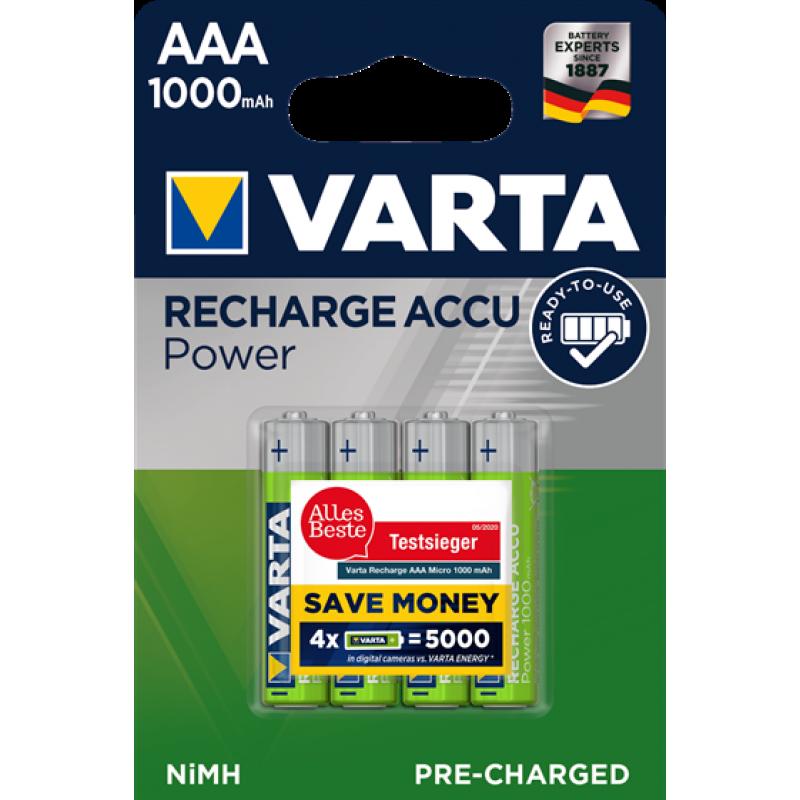 Varta Recharge Accu Power 1000mAh AAA akumuliatorius, 4 vnt.