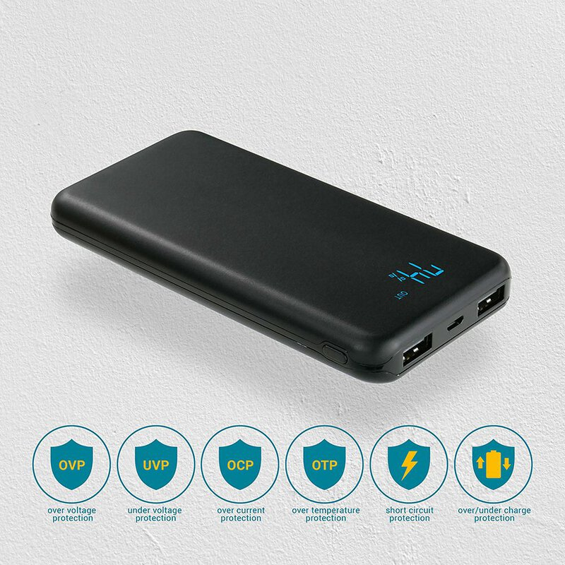 everActive 10000mAh išorinė baterija su LED ekranu 2xUSB 2A