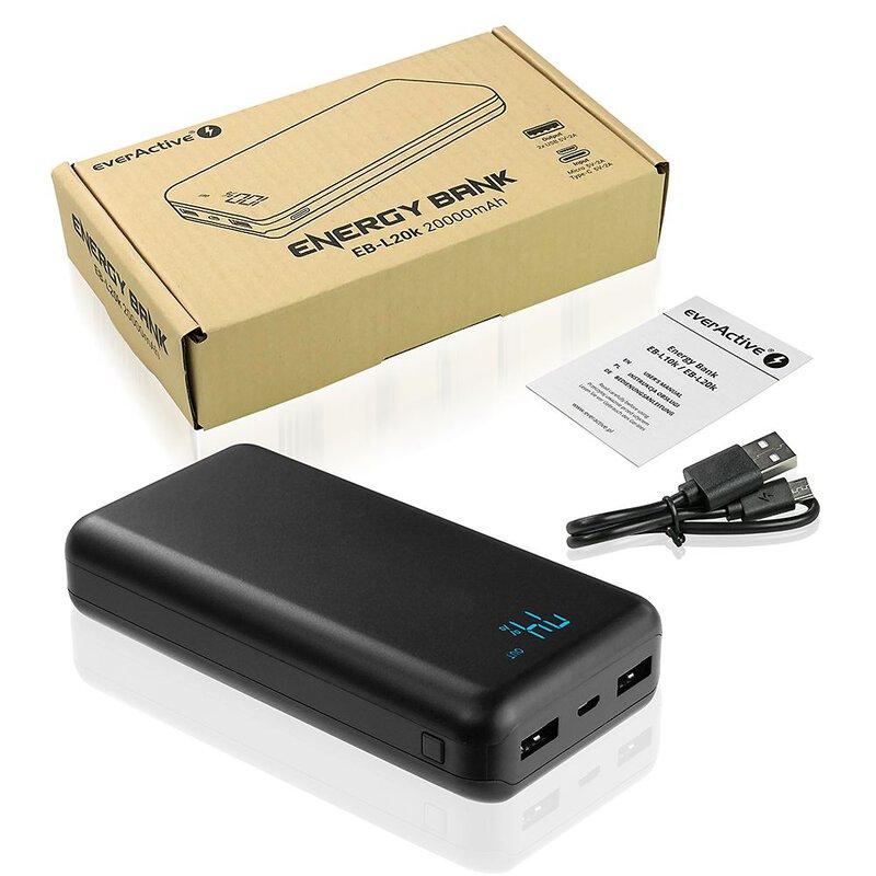 everActive 20000mAh išorinė baterija su LED ekranu 2xUSB 2A