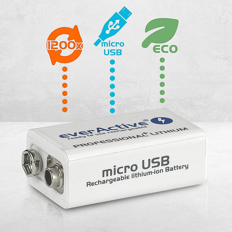 everActive Lithium USB įkraunamas 9V 550mAh akumuliatorius