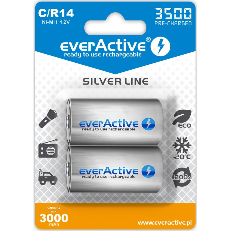 everActive Silver Line Ready to Use 3500mAh C akumuliatorius, 2 vnt.