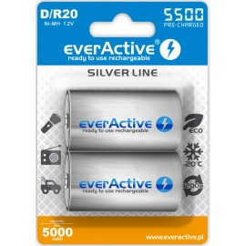everActive Silver Line Ready to Use 5500mAh D akumuliatorius, 2 vnt.