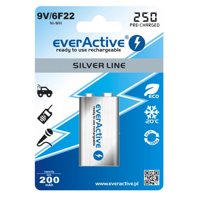 everActive Silver line Ready to Use 9V 250mAh akumuliatorius, 1 vnt.
