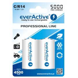 everActive Professional Ready to Use 5000mAh C akumuliatorius, 2 vnt.