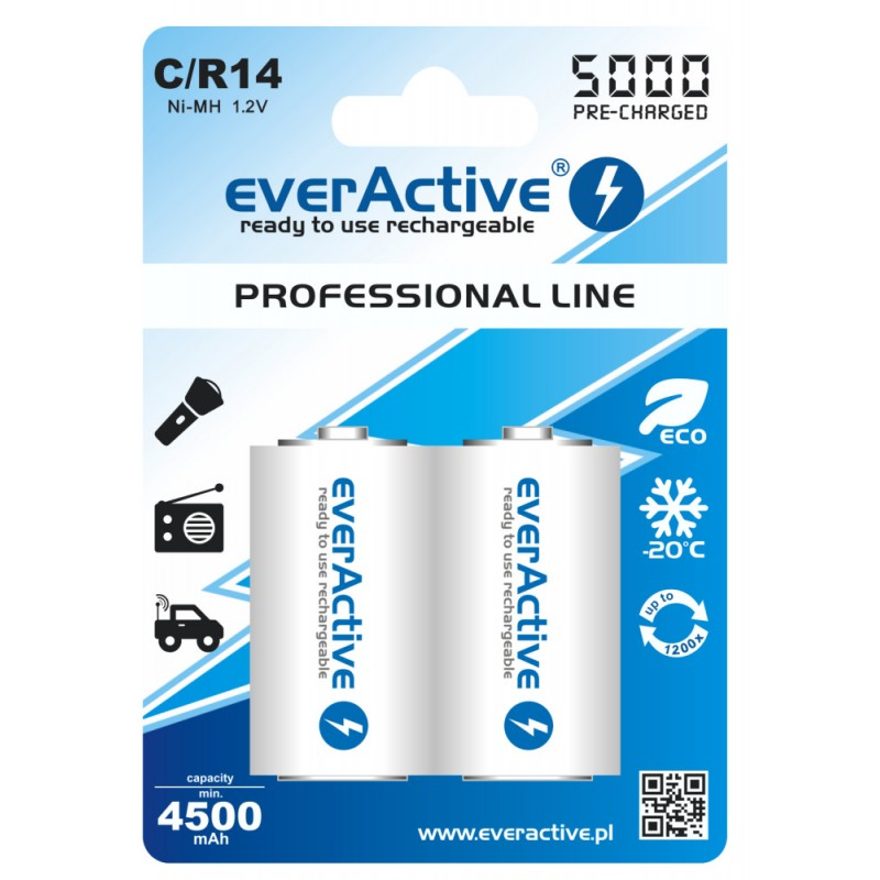 everActive Professional Ready to Use 5000mAh C akumuliatorius, 2 vnt.
