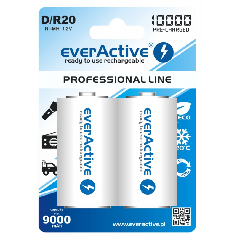 everActive Professional Ready to Use 10000mAh D akumuliatorius, 2 vnt.
