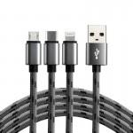everActive pintas USB 2.4A 1.2m kabelis trys-viename micro-USB, USB-C ir Lightning