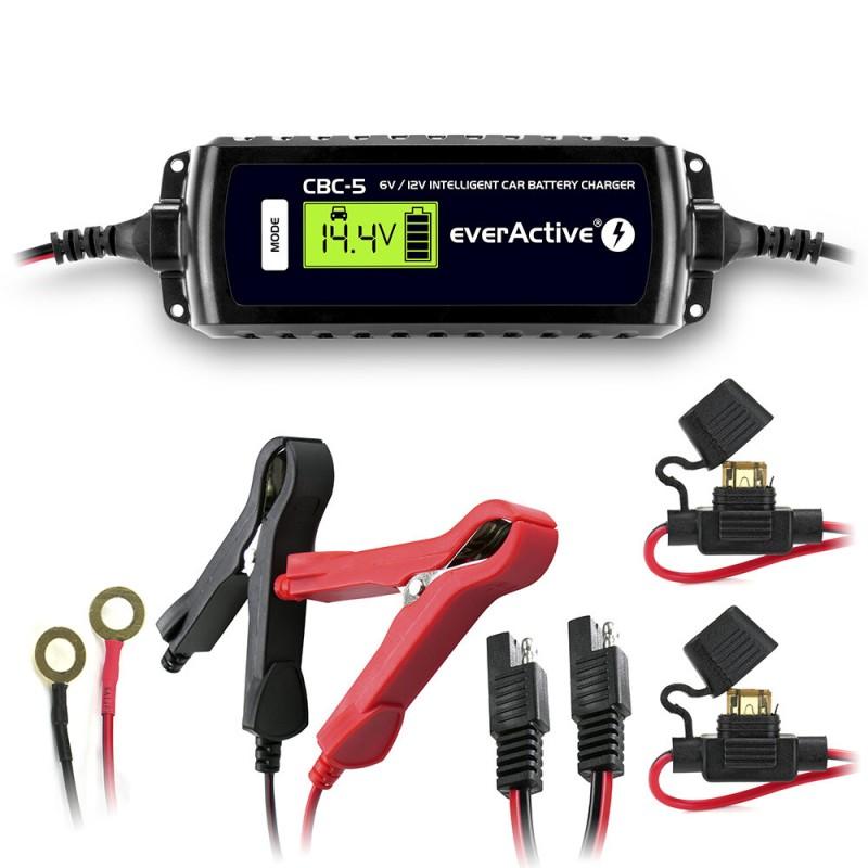 everActive automatinis 9 etapų 6/12V 1,2-120Ah akumuliatorių kroviklis su LCD ekranu