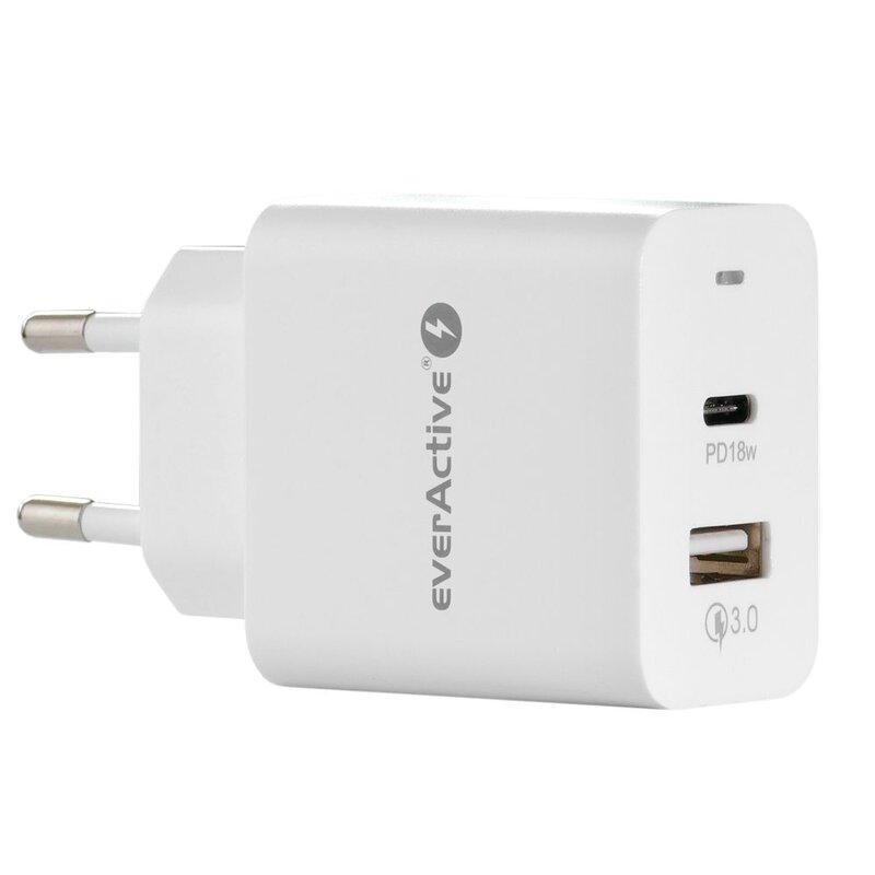 everActive 5-12V USB QC 3.0 ir USB-C PD 18W įkroviklis