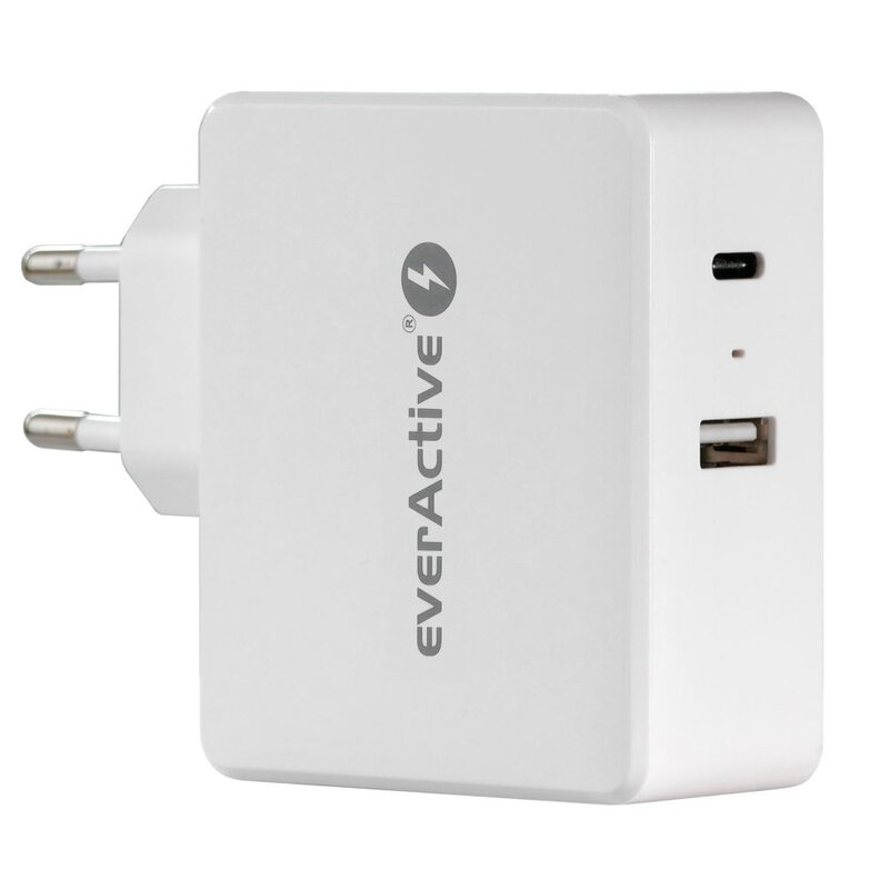 everActive 5-12V USB QC 3.0 ir 5-20V USB-C PD 63W įkroviklis