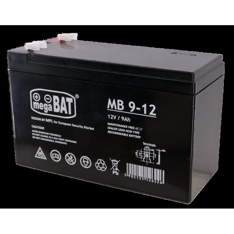 Megabat 12V 9Ah F1(187) AGM akumuliatorius, 3-5 metai