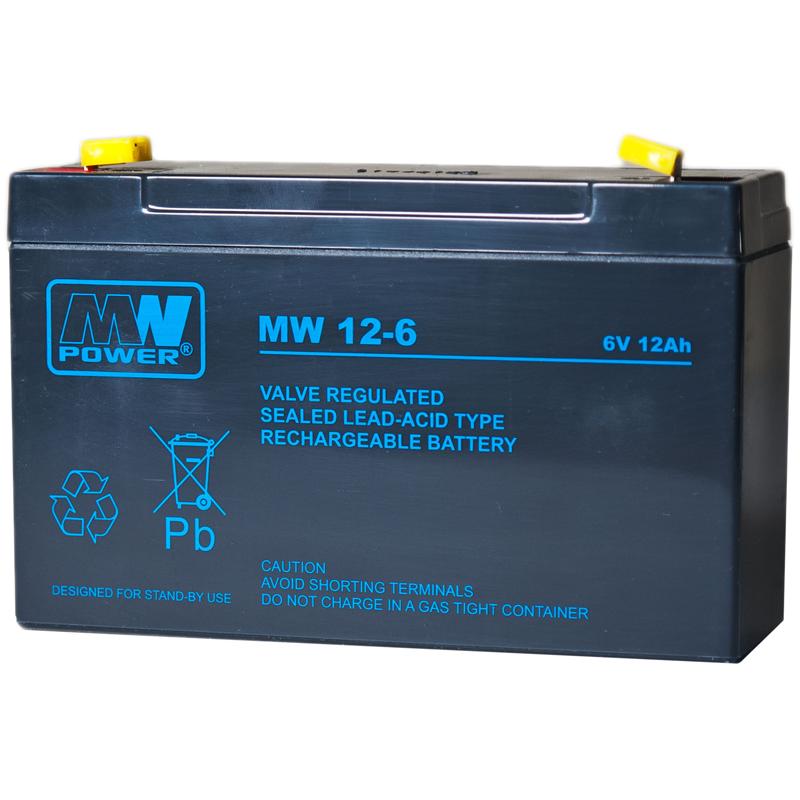 MWPower MW 6V 12Ah F2(250) AGM akumuliatorius, 6-9 metai