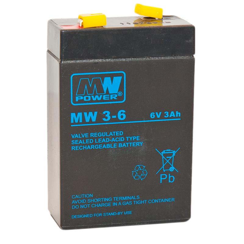 MWPower MW 6V 3Ah F1(187) AGM akumuliatorius, 6-9 metai