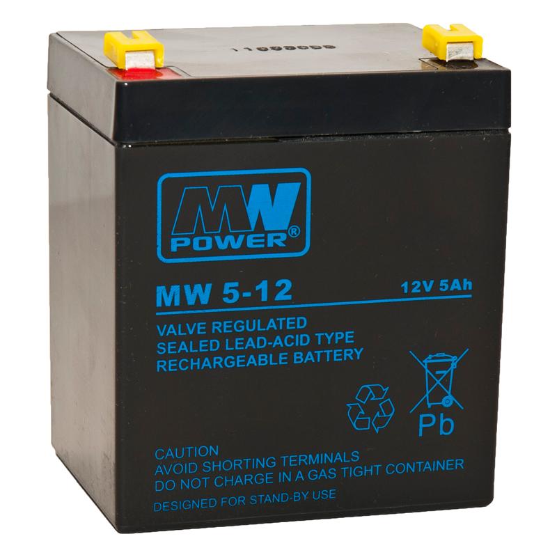 MWPower MW 12V 5Ah F1(187) AGM akumuliatorius, 6-9 metai