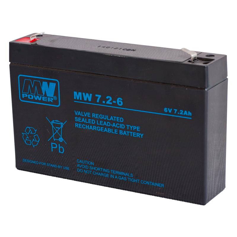 MWPower MW 6V 7.2Ah F1(187) AGM akumuliatorius, 6-9 metai