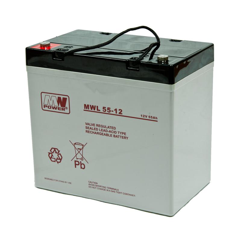 MWPower MWL 12V 55Ah M6 (T16) AGM akumuliatorius, 10-12 metų