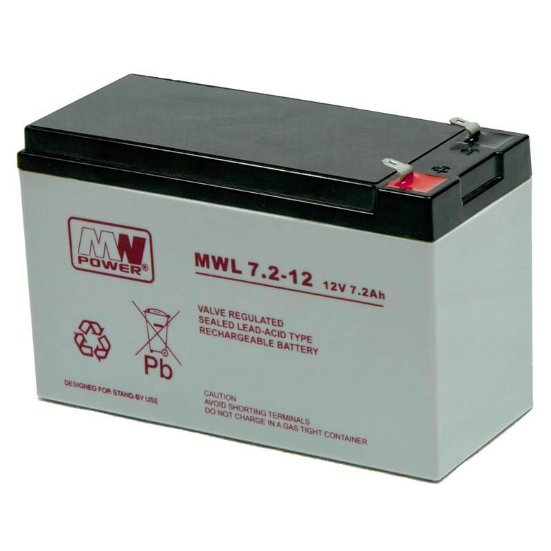 MWPower MWL 12V 7.2Ah F2(250) AGM akumuliatorius, 10-12 metų