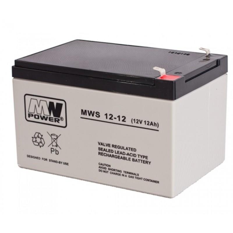 MWpower švino rūgštinis 12V 12Ah F1(187) AGM akumuliatorius