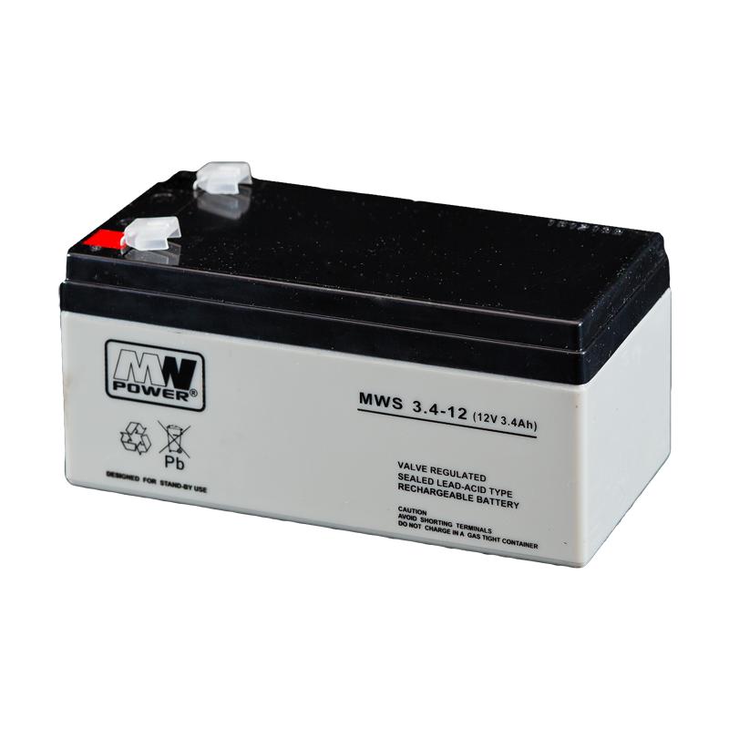 MWPower MWS 12V 3.4Ah F1(187) AGM akumuliatorius, 5 metai