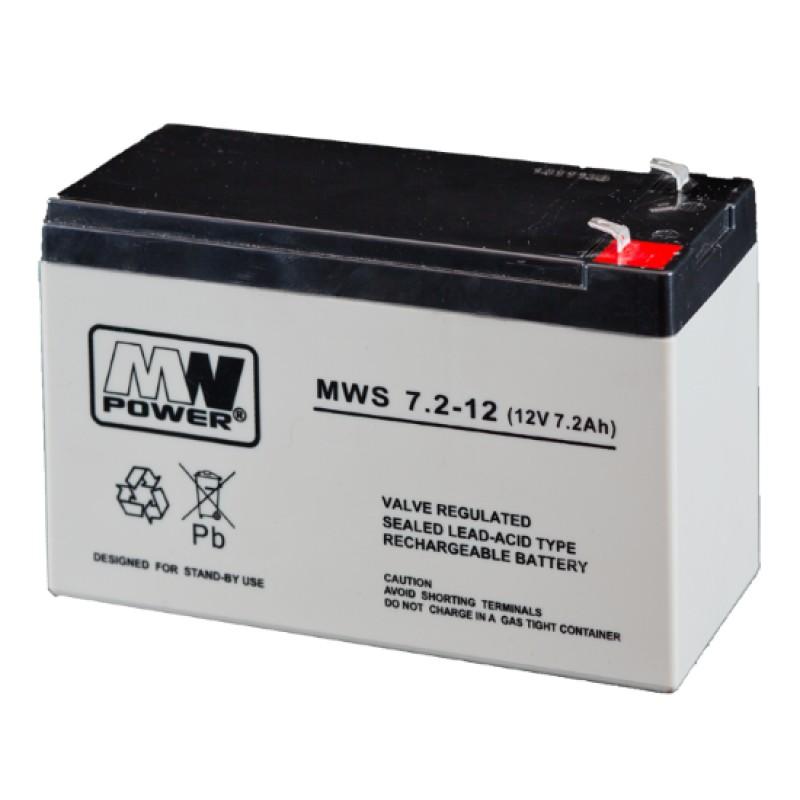 MWPower MWS 12V 7.2Ah F1(187) AGM akumuliatorius, 5 metai