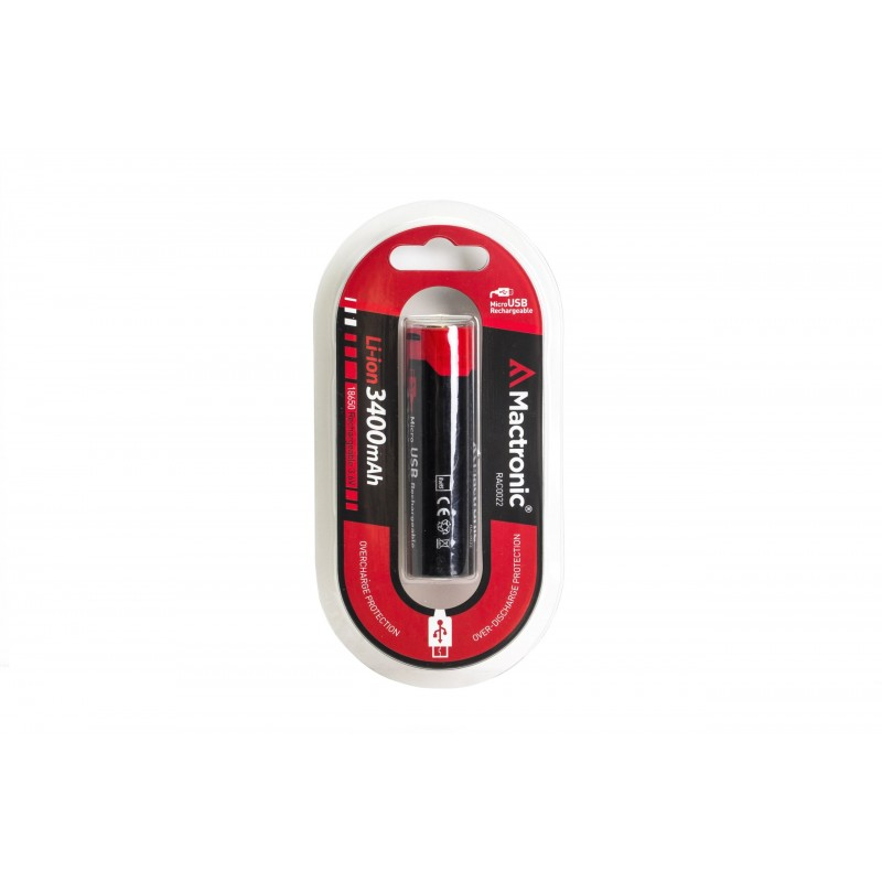 Mactronic USB įkraunamas 18650 3400mAh 3,6V akumuliatorius su PCB