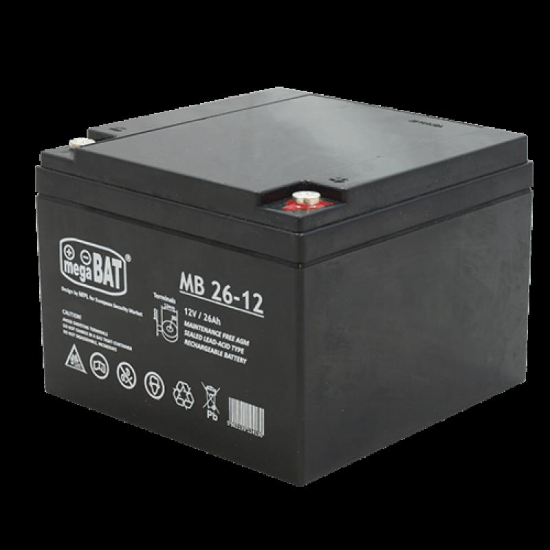 Megabat 12V 26Ah M5 AGM akumuliatorius, 3-5 metai