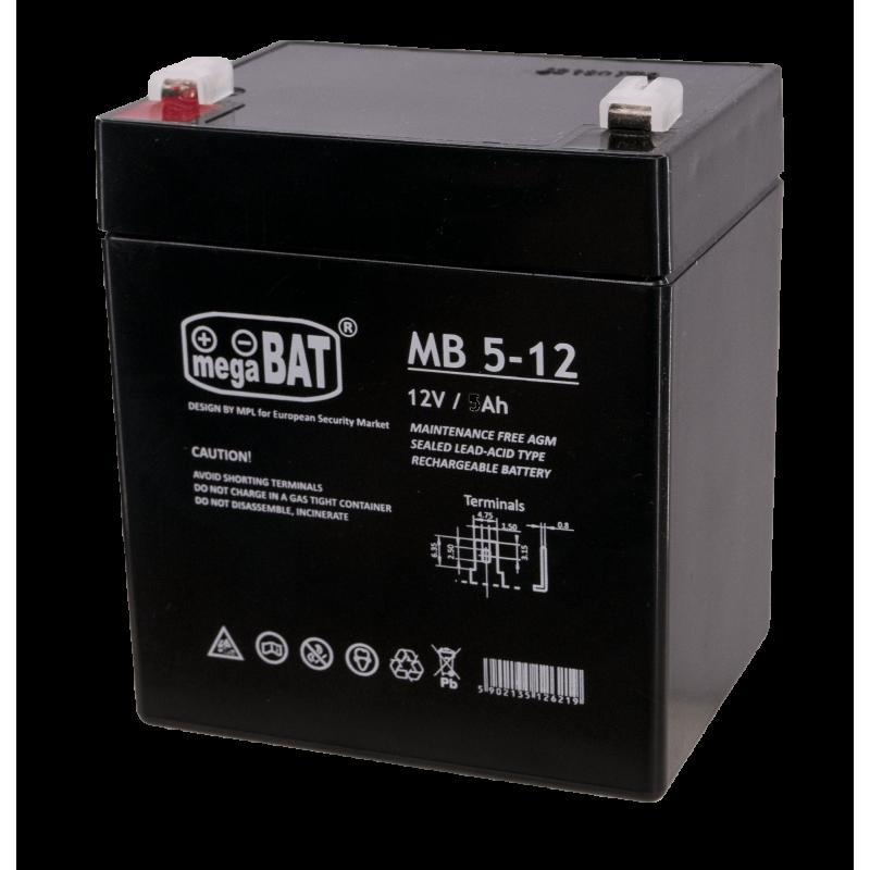 Megabat 12V 5Ah F1(187) AGM akumuliatorius, 3-5 metai