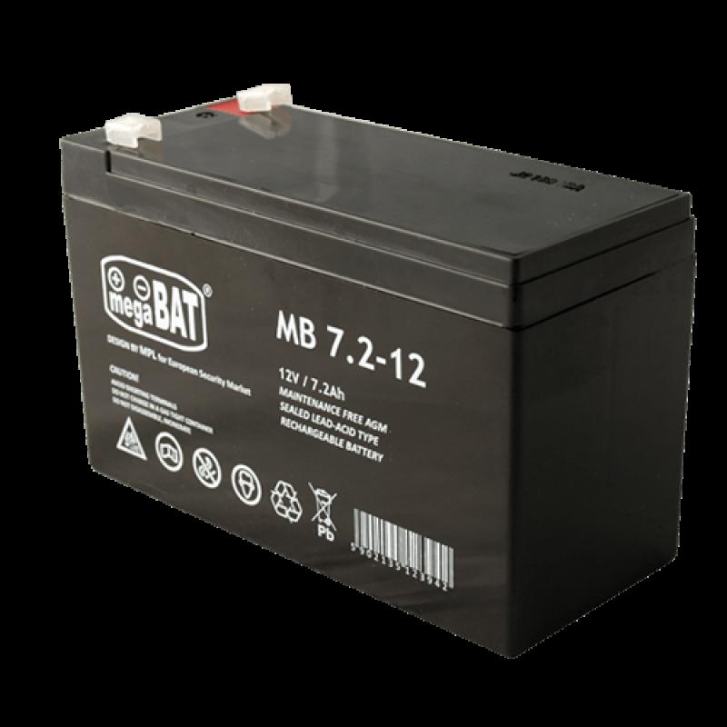 Megabat 12V 7.2Ah F1(187) AGM akumuliatorius, 3-5 metai