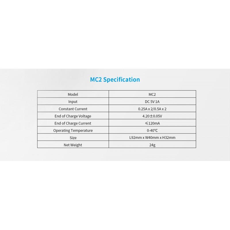 Xtar universalus 2 x ličio jonų akumuliatorių įkroviklis MC2