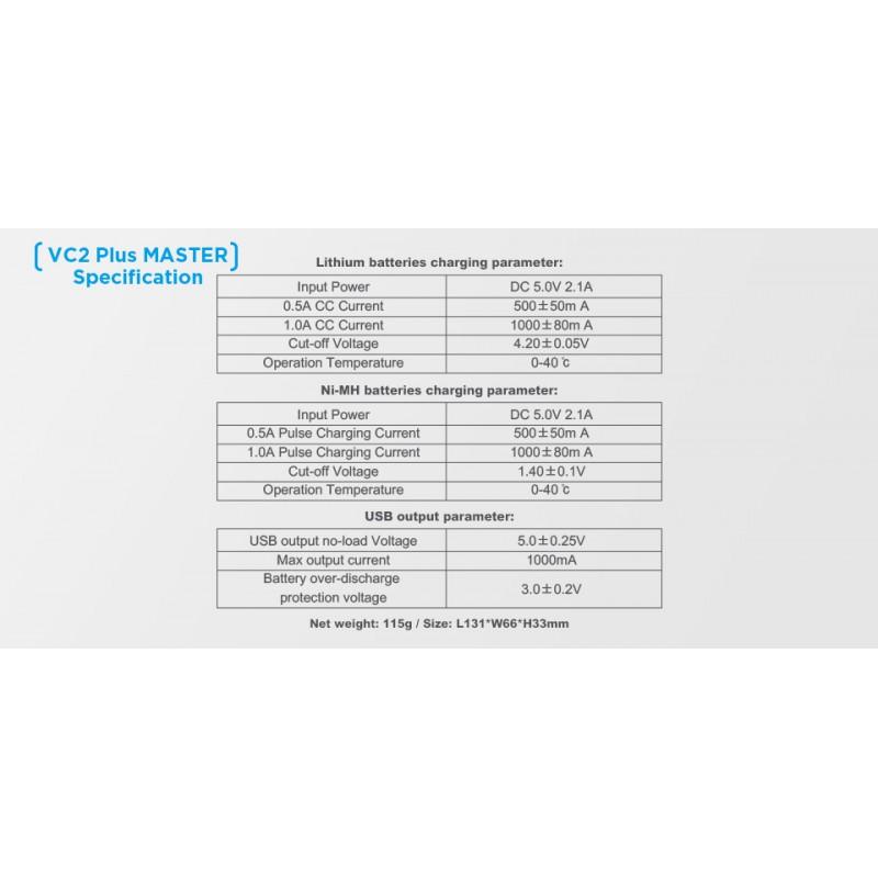 Xtar universalus ličio jonų ir Ni-MH akumuliatorių įkroviklis MASTER (VC2 PLUS)