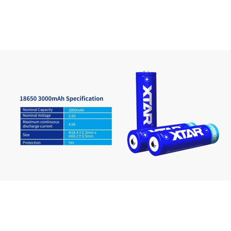 Xtar 3000mAh 3,6V 18650 akumuliatorius su PCB