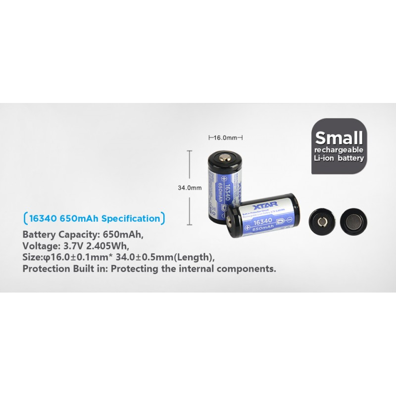 Xtar 650mAh 3,7V 16340 CR123 akumuliatorius su PCB